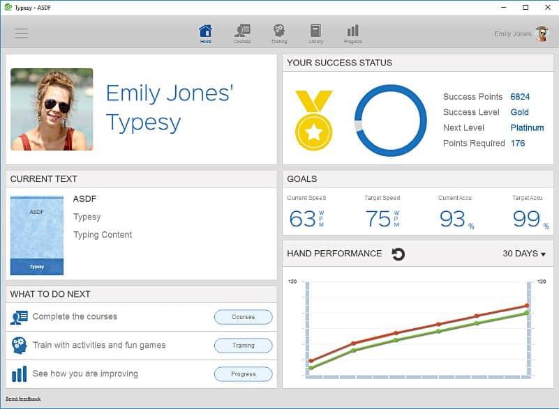screenshot image of typesy dashboard