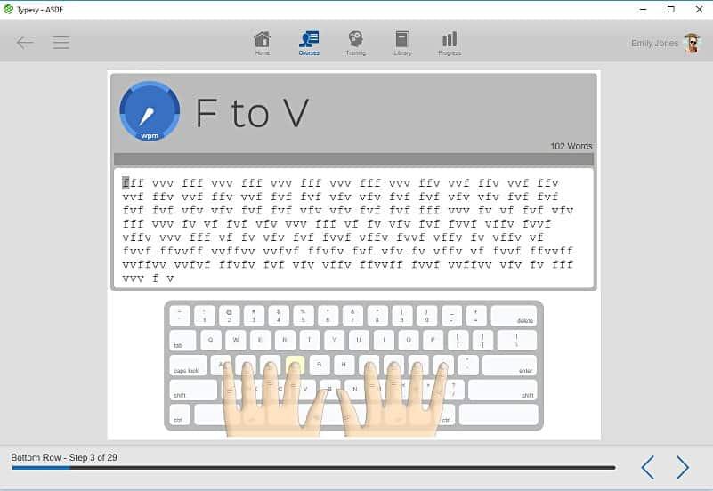 screenshot image of typesy exercises
