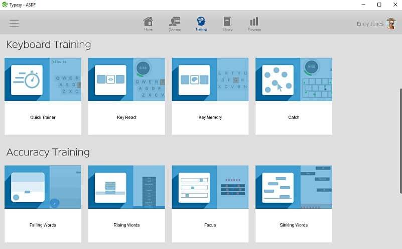 screenshot image of typesy training