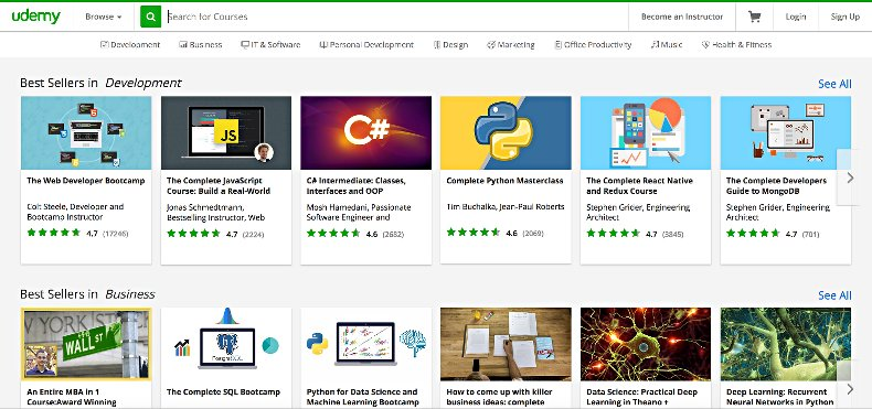 udemy review - screenshot course search