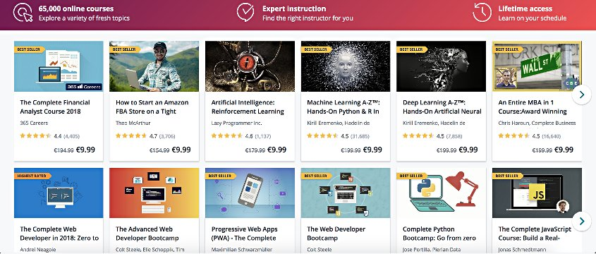 screenshot of Udemy Category Courses