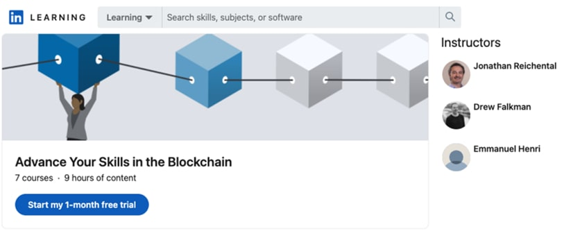 Image Blockchain Courses - Advanced Skills in Blockchain Certification, Linkedin Learning