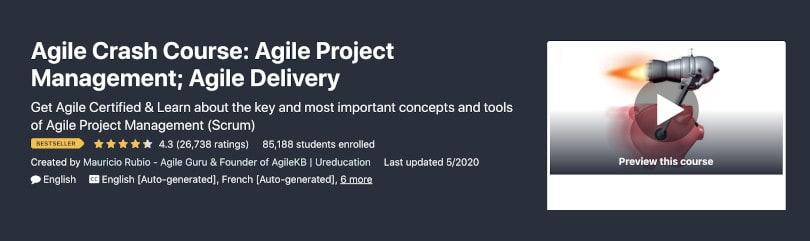 Image Project Management Courses - Agile Crash Course Udemy
