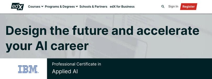Image Best AI Courses - Applied AI Professional Certificate - IBM, edX