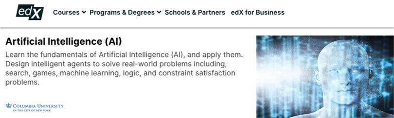 Image Best AI Courses - Artificial Intelligence (AI) Columbia University, edX
