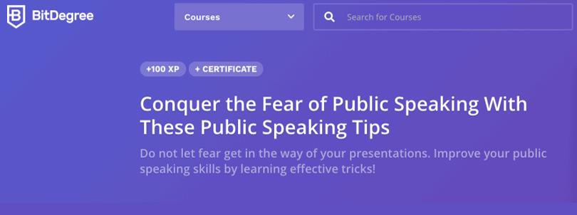 example image of bitdegree public speaking courses