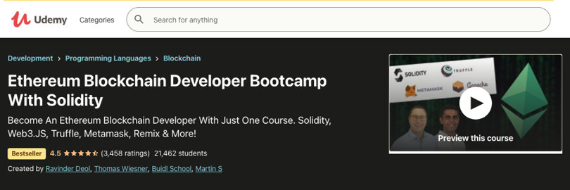 Image Blockchain Courses - Ethereum Blockchain Developer Bootcamp Solidity, Udemy