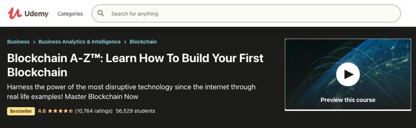 Image Blockchain Courses - Blockchain A-Z: Build First Blockchain, Udemy