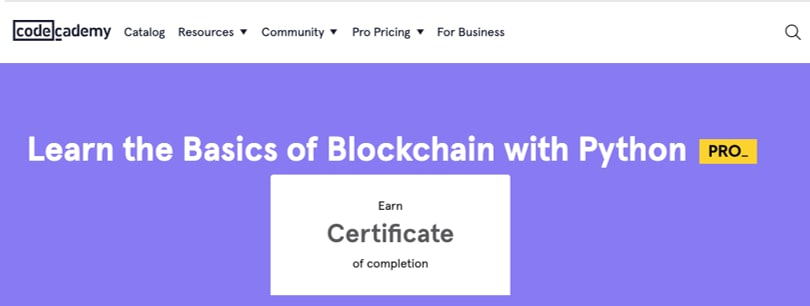 Image Blockchain Courses - Blockchain with Python - codecademy