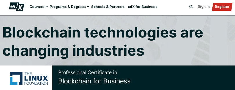 Image Blockchain Courses - Blockchain for Business Certification, Linux Foundation, edX
