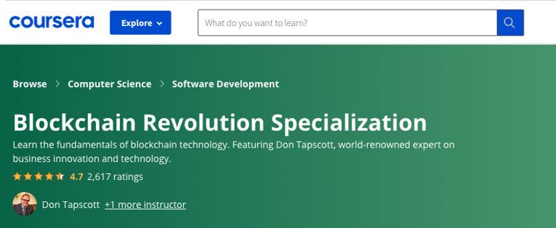 Image Blockchain Courses - Blockchain Revolution Specialization, Coursera