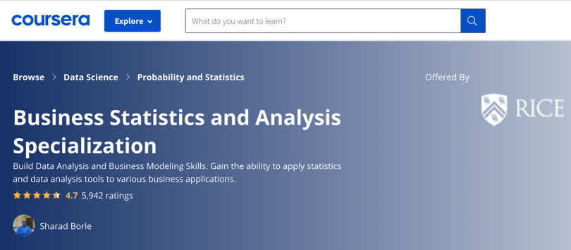 Image Business Analytics Courses - Coursera Business Statistics Specialization