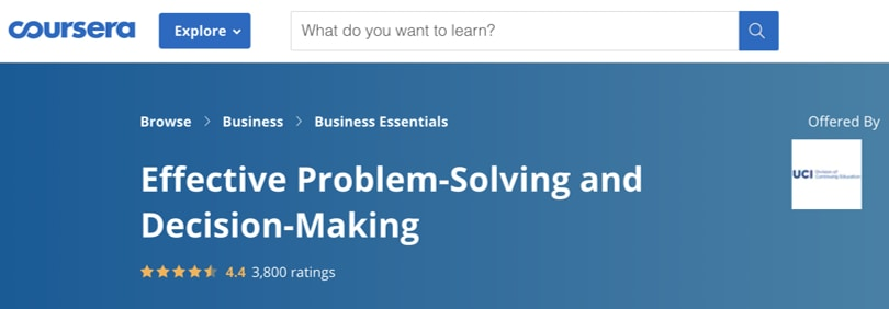 Image Best Productivity Courses - Coursera - Effective Problem Solving and Decision Making