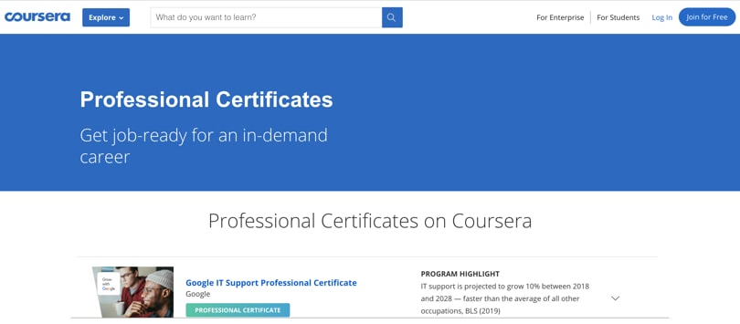 Image Coursera Online Professional Certificates