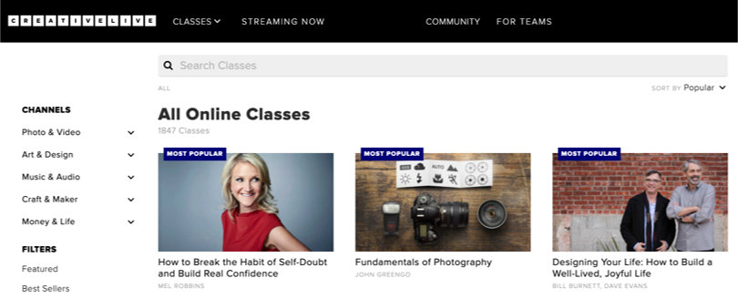 Image of CreativeLive Review - Screenshots Search & Browse