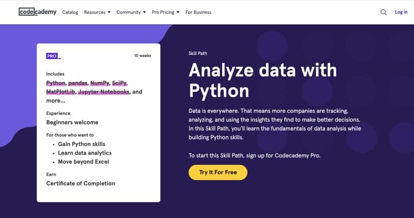 Image Data Analytics Courses - Data Analysis, codecademy