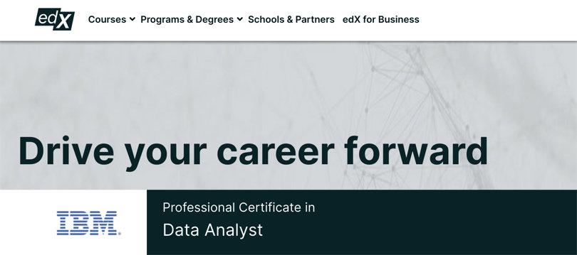 Image Data Analytics Courses - Data Analyst Certificate, IBM, edX
