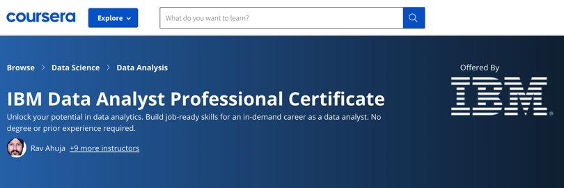 Image Data Analytics Courses - Data Analyst Certificate, IBM, Coursera