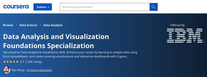 Image Data Analytics Courses - Data Analysis & Visualization, Coursera