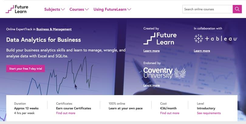 Image Data Analytics Courses - Data Analytics Track, FutureLearn