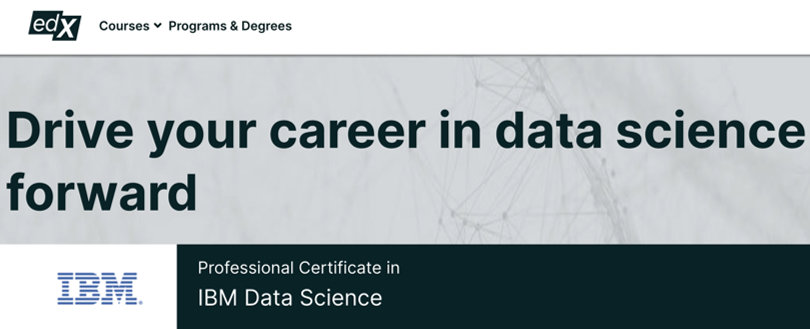 Image Data Science Courses - Data Science IBM Certificate, edx