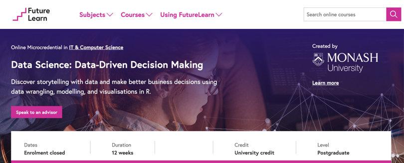 Image Data Science Courses - Data Driven Decision Making, Futurelearn