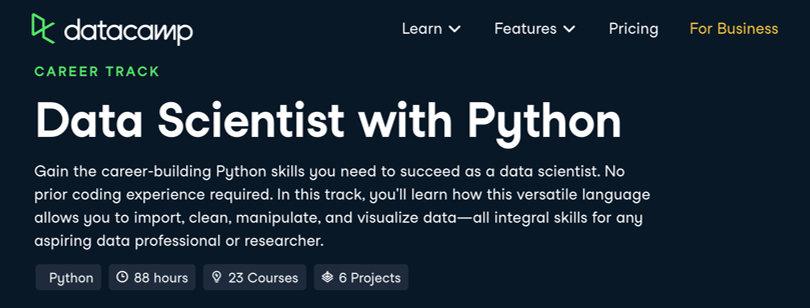 Image Data Science Courses - Data Scientist Python, Datacamp