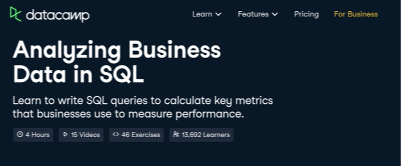 Image Business Analytics Courses - DataCamp- Analyzing Business Data in SQL