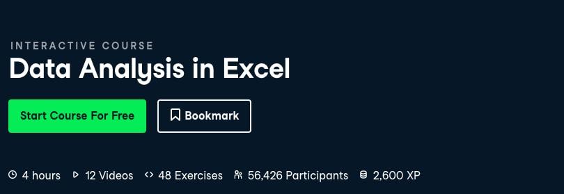 Image Best DataCamp Courses - Data Analysis in Excel