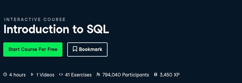 Image Best DataCamp Courses 2021 - Introduction to SQL