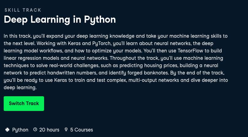 Image Best DataCamp Skill Tracks - Deep Learning with Python