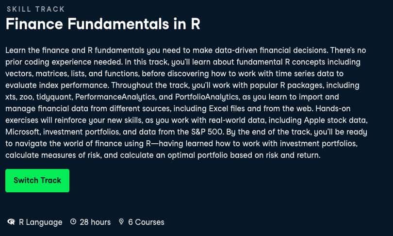 Image Best DataCamp Skill Tracks - Finance Fundamentals in R