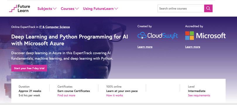 Image Deep Learning Courses - Deep Learning For AI, Microsoft, Futurelearn