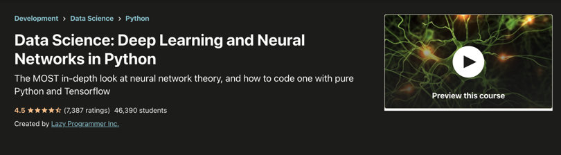 Image Deep Learning Courses - Neural Networks in Python, Udemy