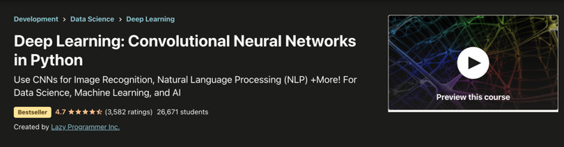 Image Deep Learning Courses - Convolutional Neural Networks in Python, Udemy