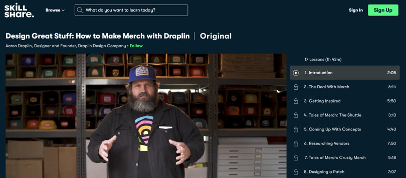 Image Best Graphic Design Courses - Skillshare - Design Great Stuff - Merch with Draplin