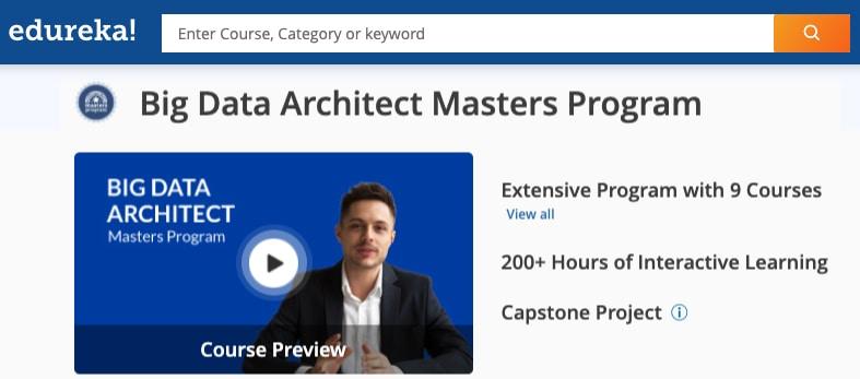 Image Edureka Big Data Architect Masters Program