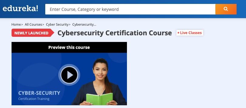 Image Edureka Courses - Cybersecurity Certification Training
