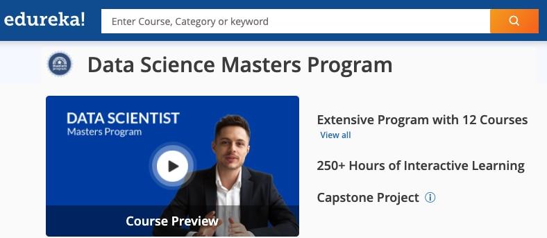 Image Edureka Data Science Masters Program