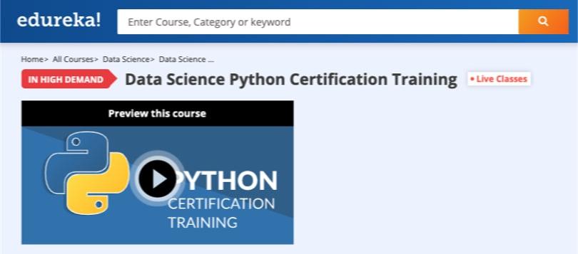 Image Edureka Courses - Data Science Python Certification Training