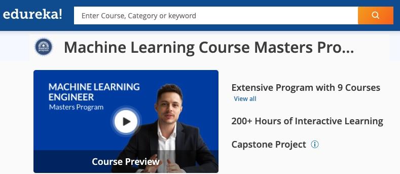 Image Edureka Machine Learning Masters Program