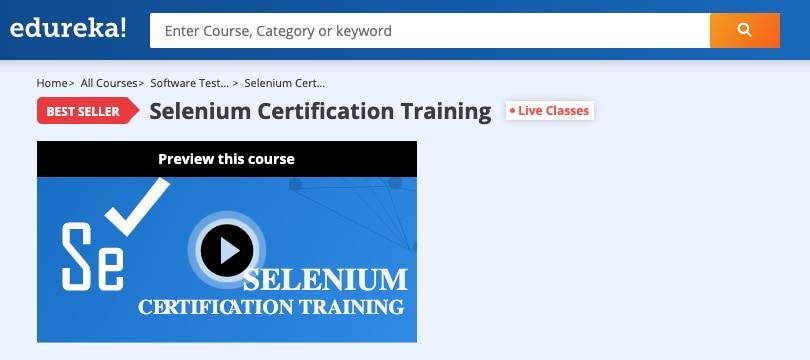 Image Edureka Courses - Selenium Certification Training