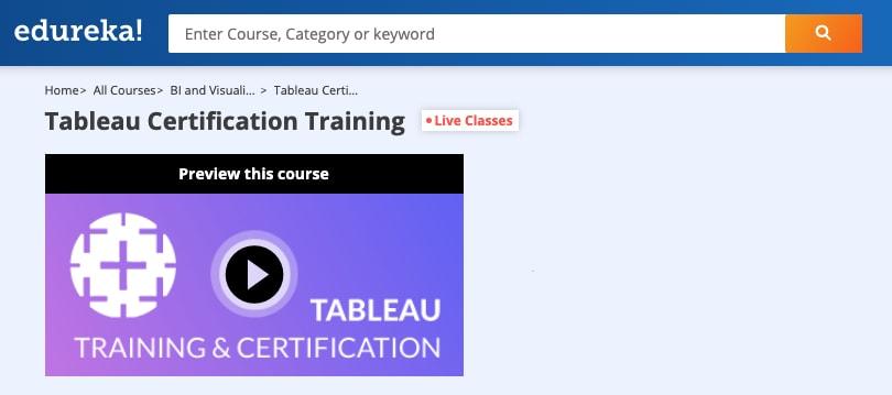 Image Edureka Courses - Tableau Certification Training