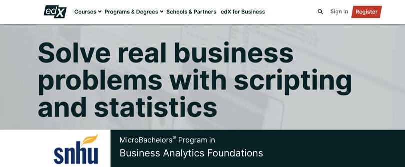 Image Business Analytics Courses - edX Business Analytics Foundations - Microbachelor