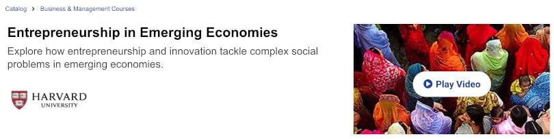 Image of Best edX Courses - Entrepreneurship in Emerging Economies- Harvard