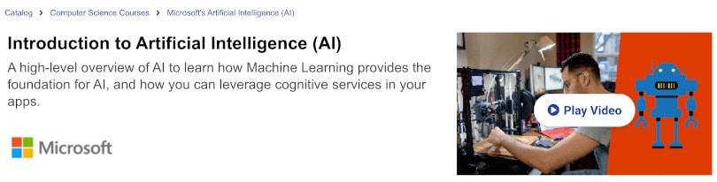 Image of Best edX Courses - Introduction to Artificial Intelligence AI by Microsoft