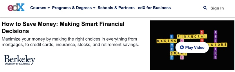 Image Personal Finance Courses - edX How To Save Money