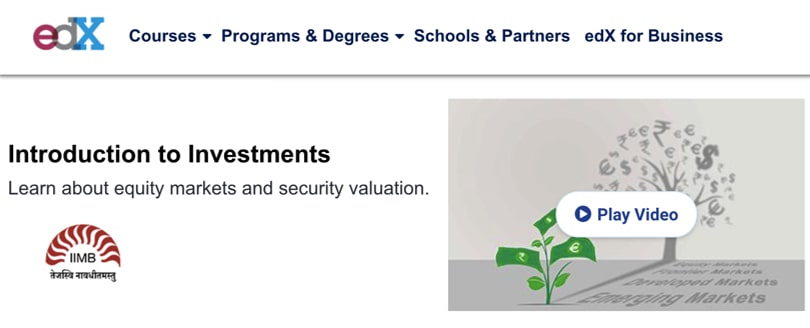 Image Personal Finance Courses - Introduction to Investments