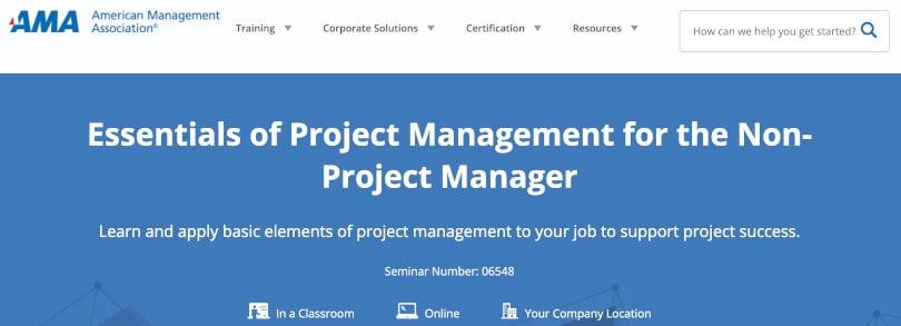 Image Project Management Courses - Essentials Project Management - AMA