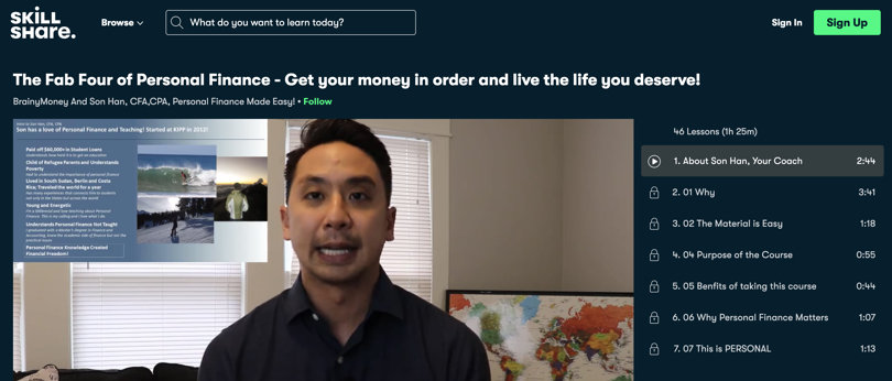 Image Best Personal Finance Courses - Skillshare - Fab Four of Personal Finance